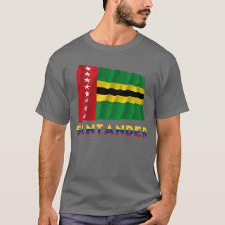 Wellenartig bewegende Flagge Santanders mit Namen T-Shirt