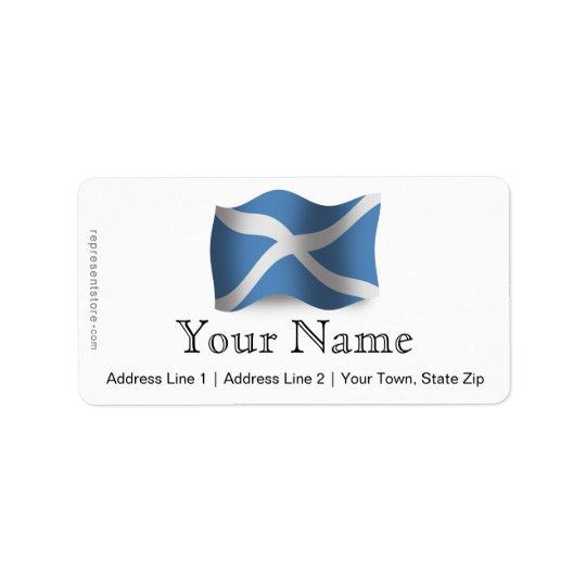Wellenartig bewegende Flagge Schottlands Adressetikett