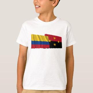 Wellenartig bewegende Flaggen Kolumbien- und T-Shirt