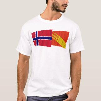 Wellenartig bewegende Flaggen Norwegens und T-Shirt