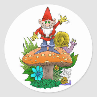 Wellenartig bewegendes Gnome.jpg Runder Aufkleber
