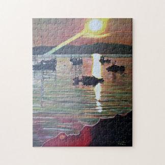 Wellenbrechersonnenuntergang-Fotopuzzlespiel