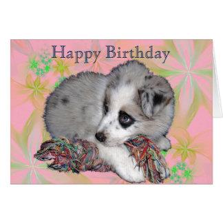 Welpe auf Blumen, Rosa, alles Gute zum Geburtstag Karte