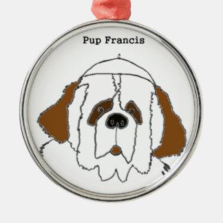 Welpe Francis für kleine Einzelteile Silbernes Ornament