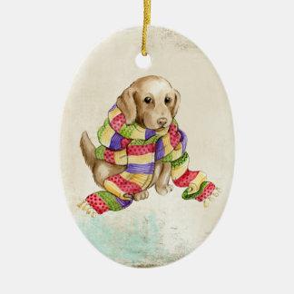 Welpe in der Schal-Verzierung Keramik Ornament