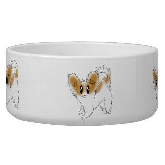 Welpe Papillon Hundefutter oder Wasser-Schüssel Napf