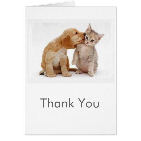 Welpe und Kätzchen danken Ihnen zu kardieren Karte