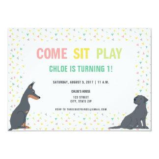 Welpen-Hundethema-Geburtstags-Party 12,7 X 17,8 Cm Einladungskarte