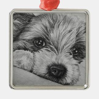 Welpen-Hundezeichnen der Tier-Kunst Silbernes Ornament