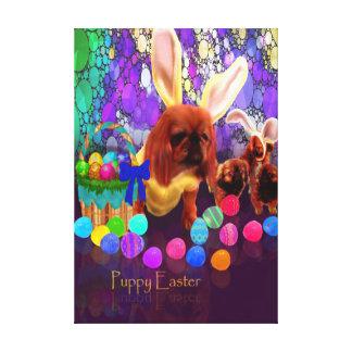 Welpen-Ostern-Hundegruß-Malerei Leinwanddruck