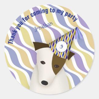 Welpenhundeblaues Geburtstags-Party des Jungen des Runder Aufkleber