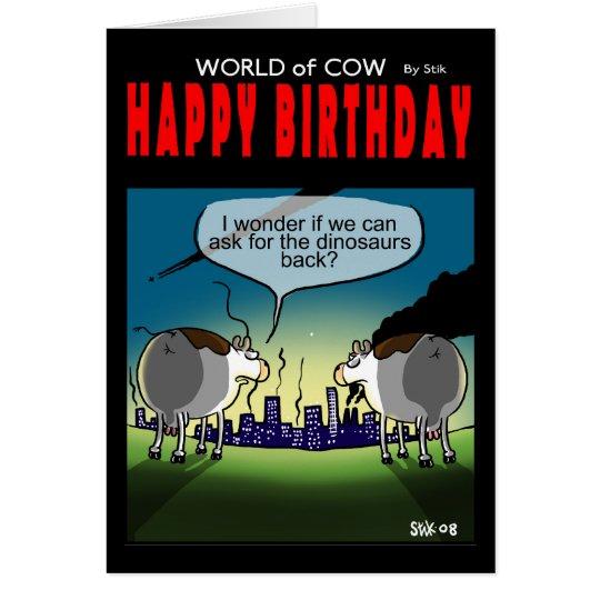 Welt der Kuhgeburtstagskarte - Dinosaurier Grußkarte