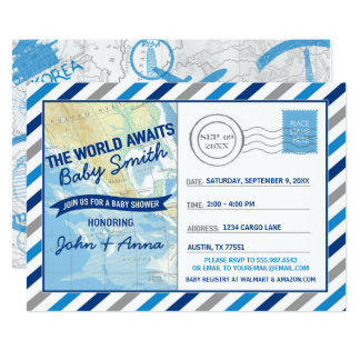 Welt erwartet Babyparty-Einladungs-Blau-Postkarte Karte