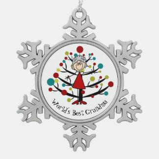 Weltbeste Großmutter-Schneeflocke-Verzierung Schneeflocken Zinn-Ornament