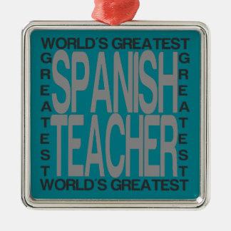Weltbester spanischer Lehrer Silbernes Ornament