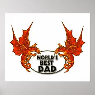 Weltbester Vati-Drache in der Goldordnung Poster