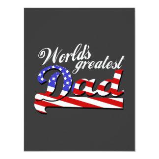 Weltbester Vati mit amerikanischer Flagge - 10,8 X 14 Cm Einladungskarte
