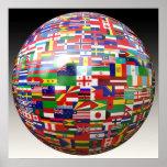 Weltflaggen in einer Kugel Posterdrucke