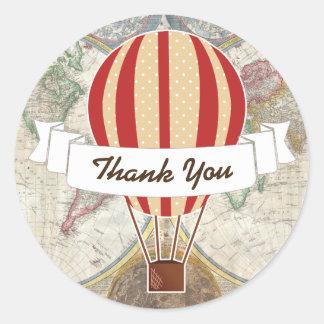 Weltforscher-glühender Luft-Ballon u. Band Runder Aufkleber