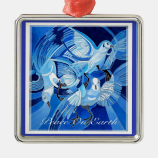 Weltfrieden mit Tauben Quadratisches Silberfarbenes Ornament
