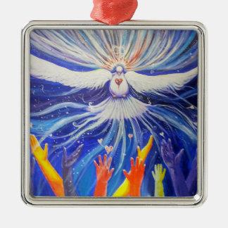 Weltfrieden Quadratisches Silberfarbenes Ornament