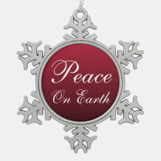 Weltfrieden-Schneeflocke-Weihnachtsverzierung Schneeflocken Zinn-Ornament