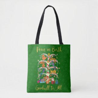 Weltfrieden-Tierbaum des Leben-Feiertags-Käufers Tasche