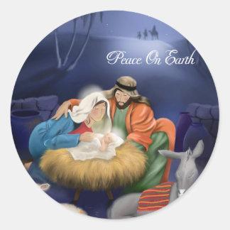 Weltfrieden-Weihnachtsaufkleber Runder Aufkleber
