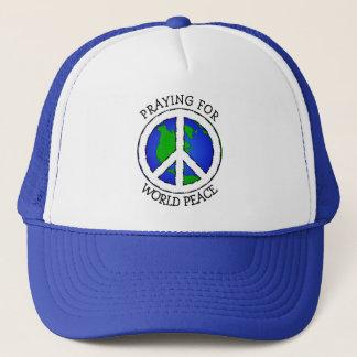 Weltfriedenserde und Friedenszeichen-Hut Truckerkappe
