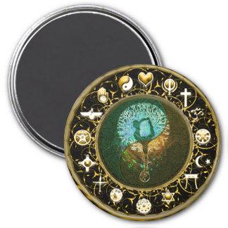 Weltfriedensharmonie-Balance Runder Magnet 7,6 Cm