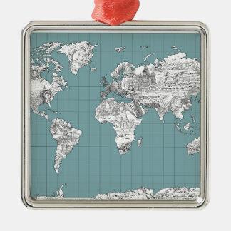 Weltkarte 10 silbernes ornament