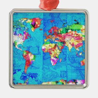 Weltkarte-Aquarell 10 Silbernes Ornament