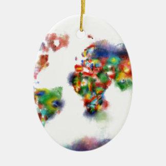 Weltkarte-Aquarell 24 Ovales Keramik Ornament