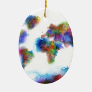 Weltkarte-Aquarell 2 Ovales Keramik Ornament