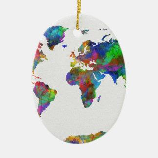 Weltkarte-Aquarell Ovales Keramik Ornament