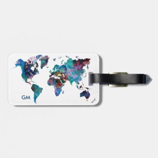 Weltkarte-Aquarellmalerei Gewohnheits-Monogramm Gepäckanhänger