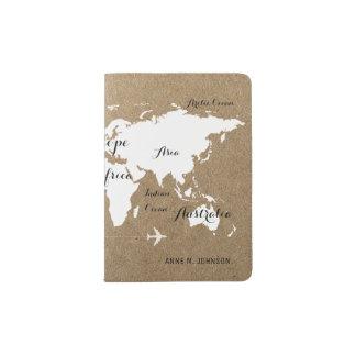 Weltkarte auf Imitat Kraftpapier stilvoll Passhülle