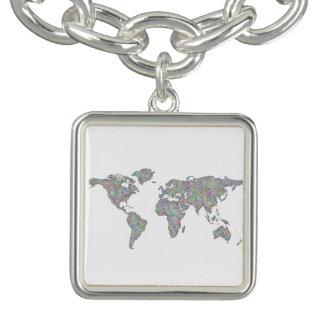 Weltkarte Charm Armband