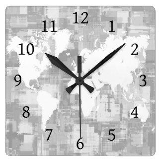 Weltkarte graues Weiß des Entwurfs 71 Quadratische Wanduhr