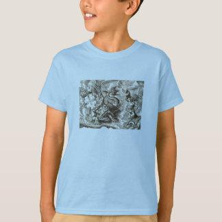 Weltkarte Poseidon und Delphin T-Shirt