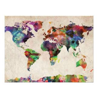 Weltkarte-städtisches Aquarell Photo
