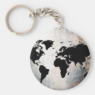 Weltkarte verrostete Metall Schlüsselanhänger