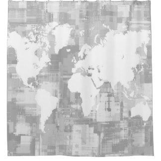 WeltkarteGrayscale des Entwurfs-71 Duschvorhang