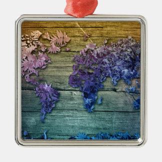 Weltkarteholz 10 silbernes ornament