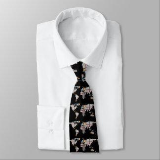 Weltkarten-Silhouette - abstraktes Piet Mondrian Krawatte