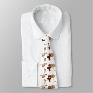 Weltkarten-Silhouette - BrownMandala Personalisierte Krawatten