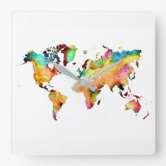 Weltkarteuhr Quadratische Wanduhr