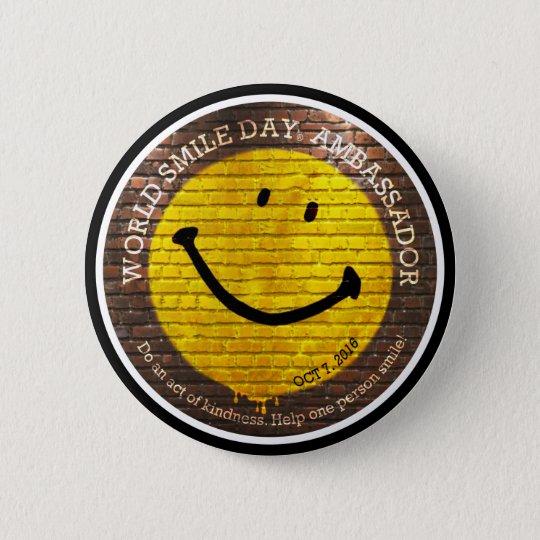 Weltlächeln Day® 2016 Knopf Runder Button 5,7 Cm