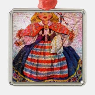 WELTpuppe SWEEDISH Quadratisches Silberfarbenes Ornament
