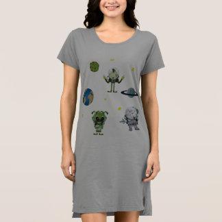 Weltraum-Außerirdische-Planeten-Entwurf auf Grün Kleid